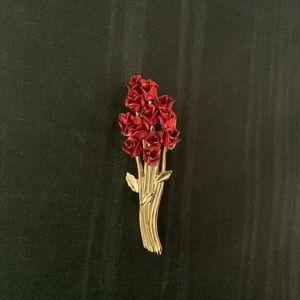 """A Dozen Red Roses"" Brooch by Avon"